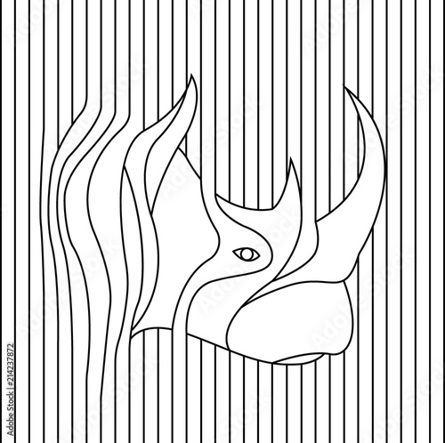 line drawing of rhino head vector - Buy this stock vector