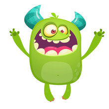Cartoon Green Monster. Monster Troll Illustration With Surprised Expression. Shocking Green Gremlin Mascot Design. Vector Halloween Illustration