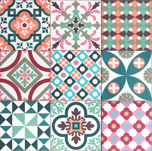 Colorful, Decorative Tile Pattern Patchwork Design