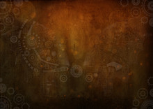 Frame Vintage Steampunk Background, Gears And Cogs On Canvas Paper, Old Grunge