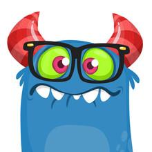 Cartoon Blue Monster Nerd Wearing Glasses. Vector Halloween Illustration Isolated