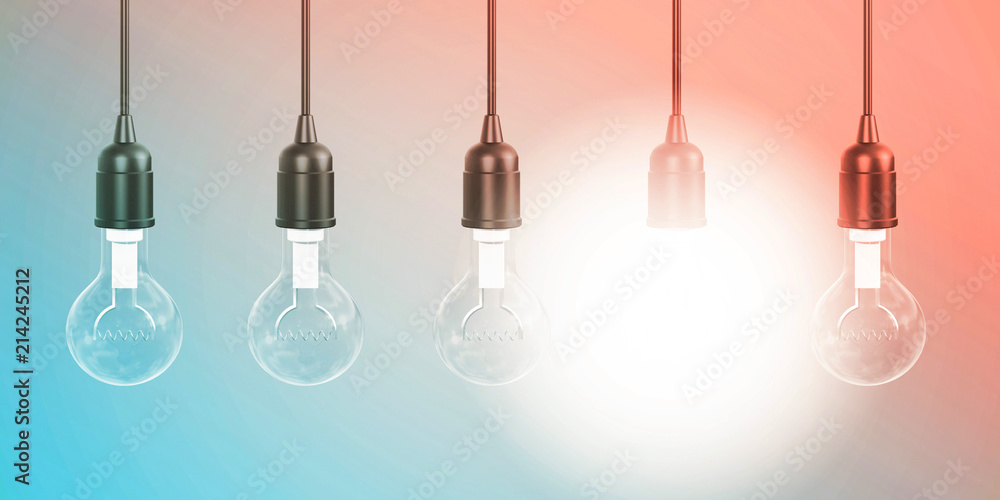 Fototapety, obrazy: Row of Hanging Lightbulbs