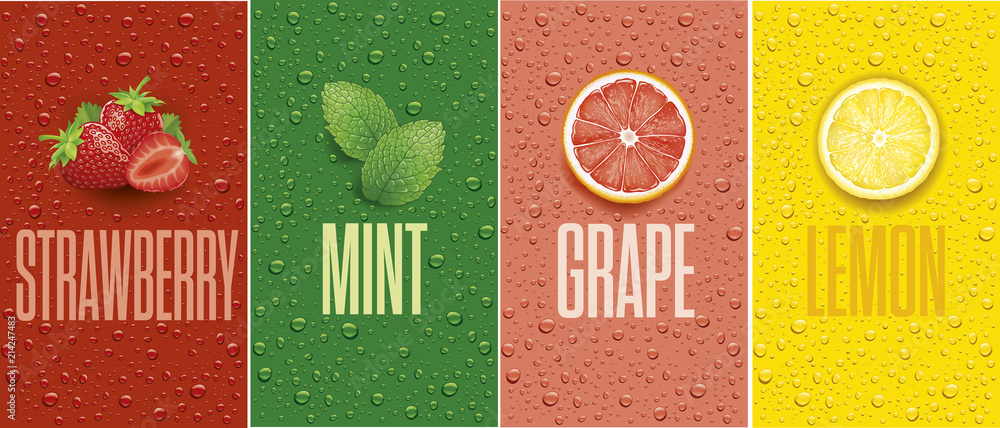 Fototapeta Drinks and juice background with drops and grapefruit, lemon slice, mint leaf and strawberry