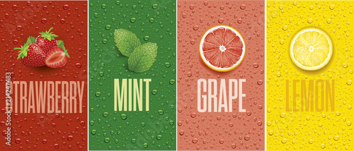 Papel de parede Drinks and juice background with drops and grapefruit, lemon slice, mint leaf an
