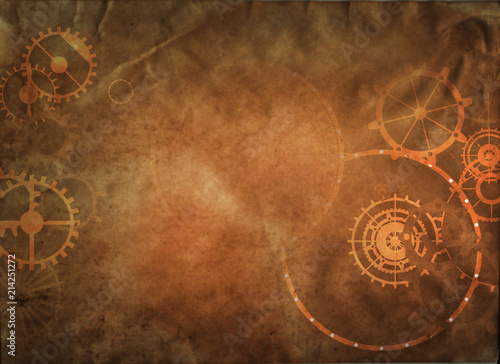 Photo  Steampunk vintage metal frame background with rusty grunge collage, cogs, dark e