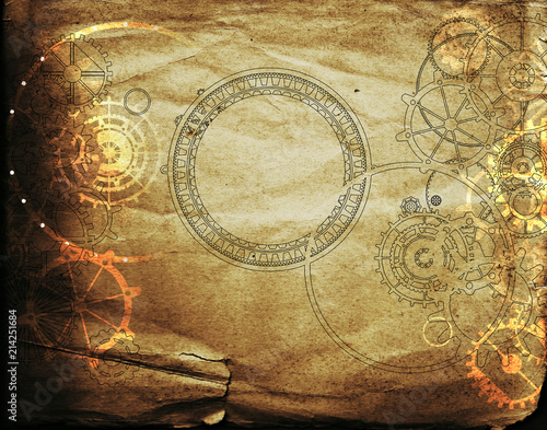 Fototapeta Vintage steampunk background, cogs and gears on grunge old canvas paper