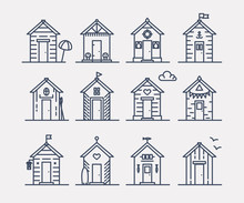 Set Of Beach Hut Icons, Flat L...