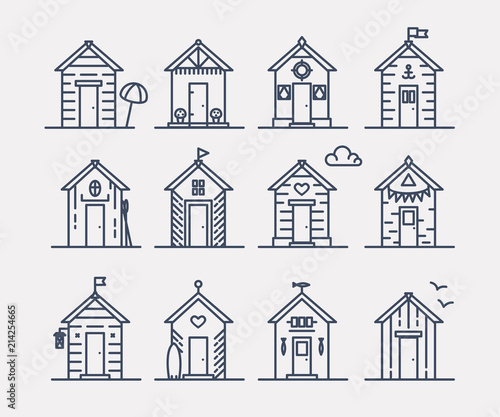 Set of beach hut icons, flat line style, blue and white Wallpaper Mural