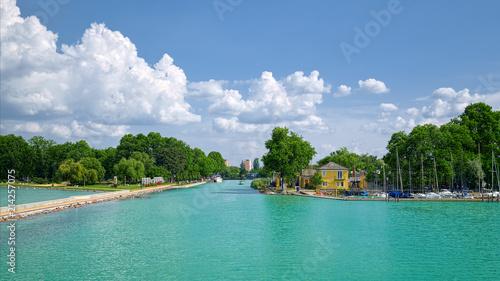 Photo  View of entrance to Siofok harbor at Balaton lake, Hungary