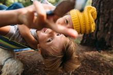 Close-up Of Kids In Hammock