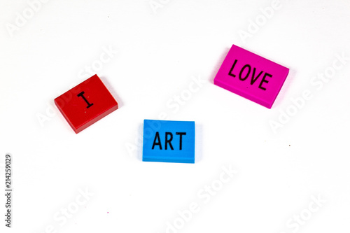 Fotografie, Obraz  The joy of the first day of school expressed in blocks, I love art