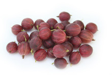 Ripe Red Gooseberries Isolated...