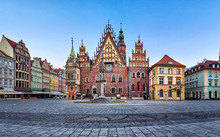 Gothic Facade With Astrinomical Clock Of Old Town Hall In Wroclaw, Poland