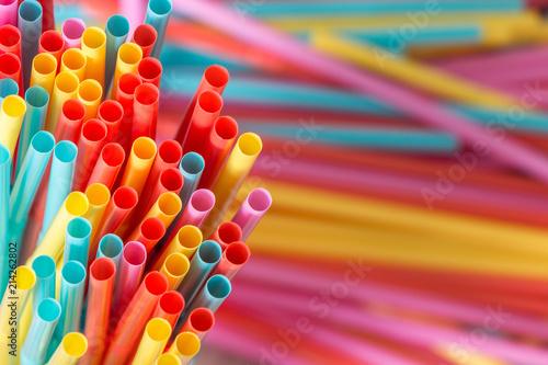 Obraz na płótnie Rainbow colors plastic straws