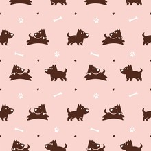 Cute Jumping Dog With Bone And Paw Seamless Pattern Vector Background