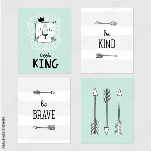 Lion Little King, be brave, be kind, tribal arrows vector illustrations Wallpaper Mural