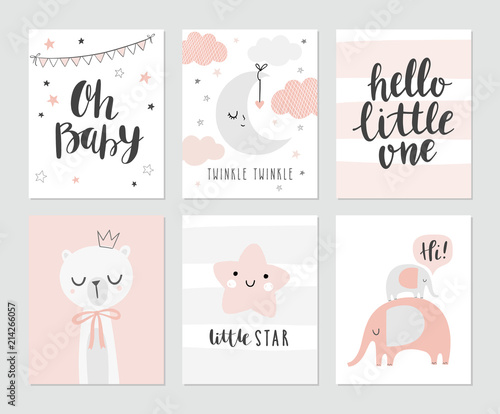 Fotografía  Set of cute baby shower cards including moon, clouds, star, elephants, bear and modern calligraphy phrases: hello little one and oh, baby