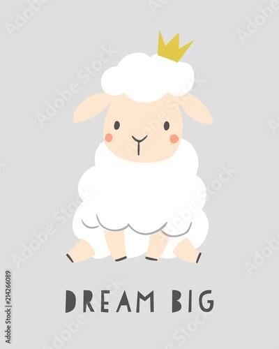Fotografie, Obraz Dream big - kids nursery art poster