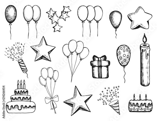holiday attributes set of hand-drawn vector drawings Canvas Print