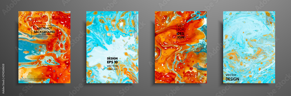 Colorful covers design set with textures Canvas Print