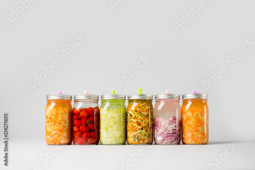 Fermented Vegetables on isolated background Poster Mural XXL