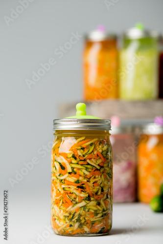 Fényképezés  Fermented Vegetables on isolated background