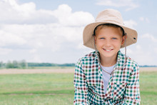 Adorable Child In Panama Hat S...