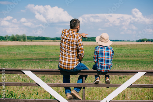 Fototapeta back view of father and son sitting on fence and looking at green  field