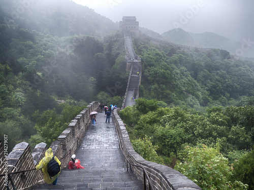 Fotobehang Chinese Muur The Great Wall Badaling section with clouds and mist, Beijing, China
