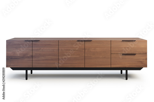 Fotografie, Tablou Wooden sideboard with retractable shelves. 3d render