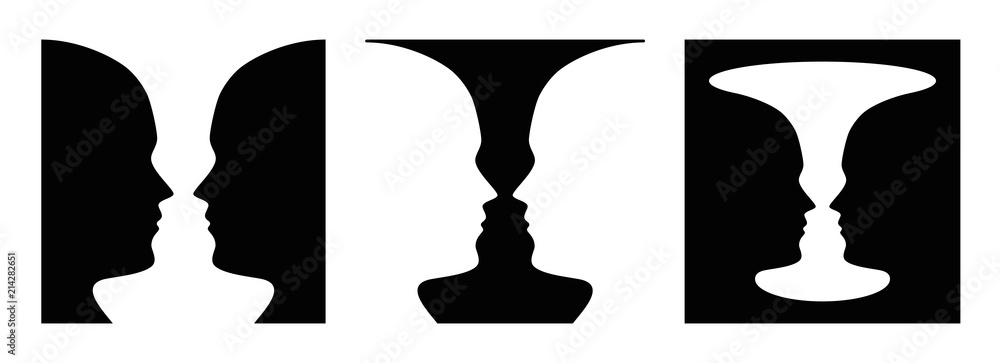 Fototapeta Three times figure-ground perception, face and vase. Figure-ground organization. Perceptual grouping. In Gestalt Psychology known as identifying figure from background. Illustration over white. Vector