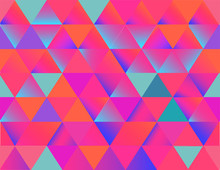 Abstract Geometric Background In Vibrant And Feminine Colorful Shades, Seamless Vector Wallpaper. Neon Vivid Gradients. Perfect For Exciting Web Designs, Banners And Social Networks Graphic.