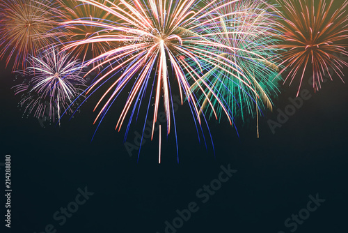 Fotografia  Beautiful firework display for celebration ,Brightly Colorful Fireworks