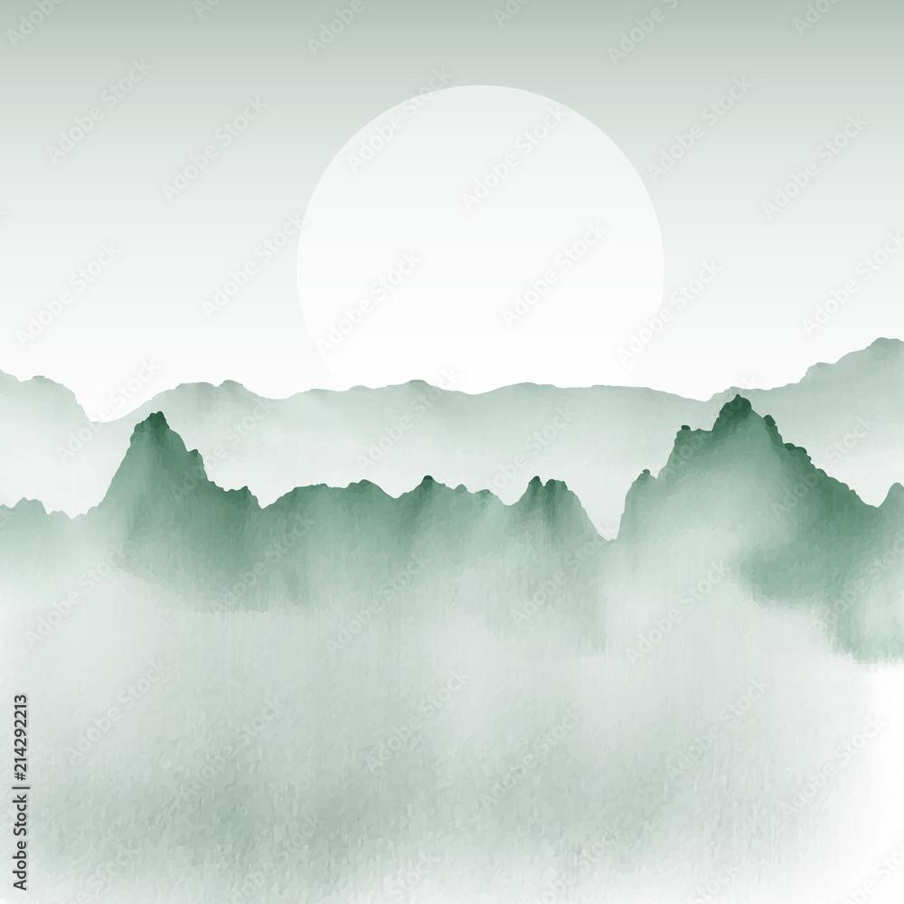 Ręcznie malowany krajobraz górski