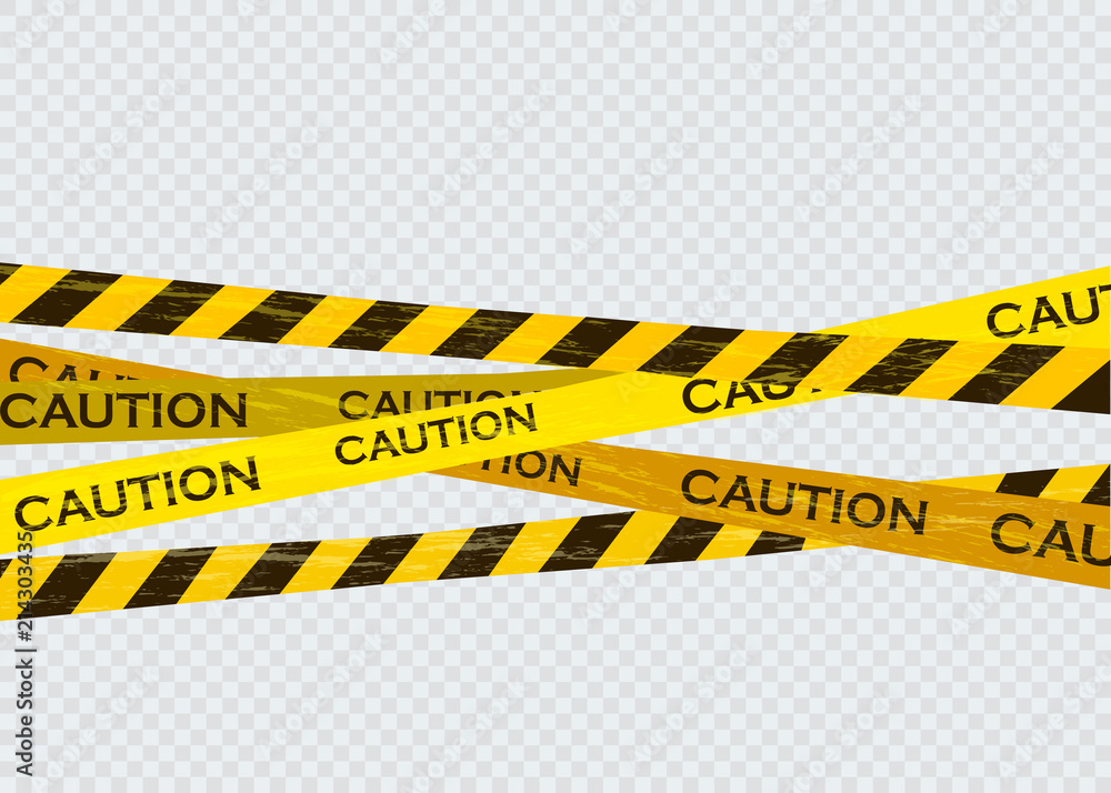 Fototapeta Caution lines isolated. Warning tapes. Danger signs.
