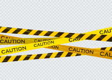 Caution Lines Isolated. Warning Tapes. Danger Signs.