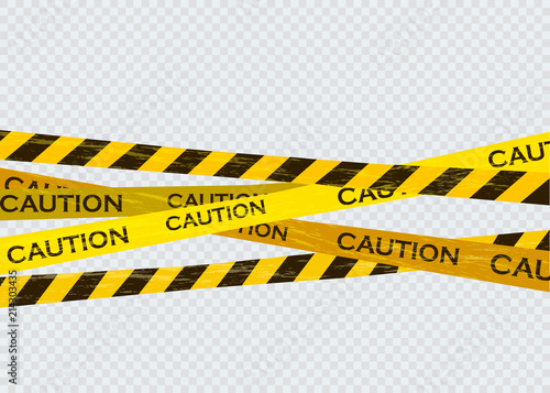 Fotografia Caution lines isolated. Warning tapes. Danger signs.