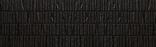 Panorama Of Modern Black Stone Tile Wall Pattern And Background
