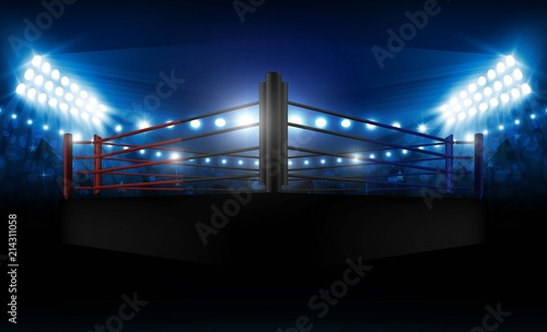 Fototapeta Boxing ring arena and floodlights vector design