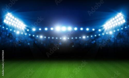 Foto op Plexiglas Stadion Football arena field with bright stadium lights vector design. Vector illumination