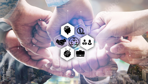 Fototapeta Business people team joining hands.