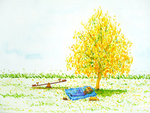 Man, Dog Sleeping Under Yellow Tree Flower Floral Bright Sky Watercolor Painting Illustration Design