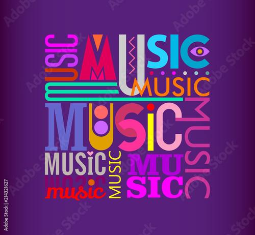 Staande foto Abstractie Art Music text design on a dark violet