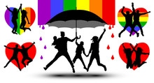 Family Is Protected By An Umbrella, Silhouette. Gender Couple. Propaganda, LGBT Flag