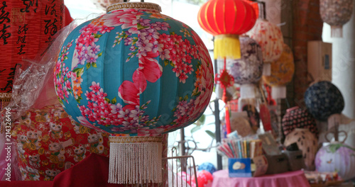 Dihua Street, Taipei city, 27 May 2018:- Mid autumn lantern selling in store