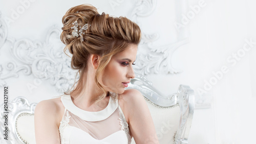Poster Hair Salon Wedding style. Beautiful young bride with luxury wedding hairstyle