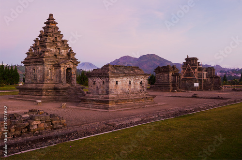 Deurstickers Bedehuis Old hindu-buddhist carved stone temple in Dieng Plateau archeological site, in Java, Indonesia