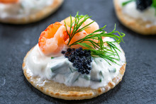 Cocktail Blinis With Crayfish,...