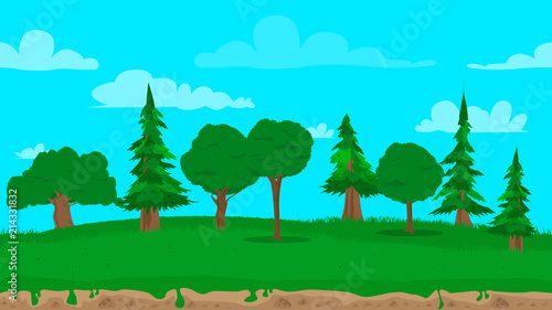 Foto op Plexiglas Turkoois Cartoon seamless nature landscape background illustration, endless field for games and animations.