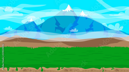 Tuinposter Turkoois Cartoon seamless nature landscape background illustration, endless field for games and animations.